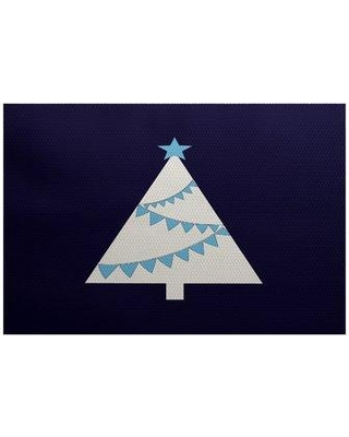 The Holiday Aisle Christmass Flatweave Blue Area Rug THLA6913 Rug Size: Rectangle 3' x 5'