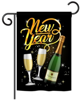 Cheers to Happy New Year Winter Impressions 2-Sided Polyester 18.5 x 13 in. Garden Flag