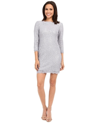 Adrianna Papell - 41915770 Lace Quarter Sleeve Dress