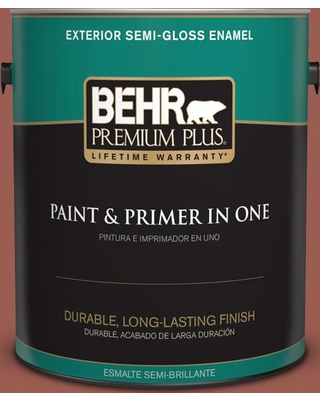 BEHR Premium Plus 1 gal. #S160-6 Red Potato Semi-Gloss Enamel Exterior Paint and Primer in One