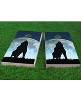 """Custom Cornhole Boards Wolf Howling On Full Moon Cornhole Game CCB178 Size: 48"""" H x 24"""" W, Bag Fill: All Weather Plastic Resin"""