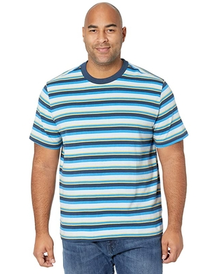 The North Face Short Sleeve Berkeley Stripe Tee (Faded Blue Creekside Stripe) Men's Clothing