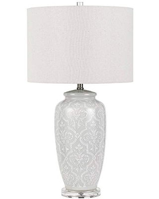 Cal Lighting BO-2828TB Transitional One Light Table Lamp from Corato Collection in White Finish, 16.00 inches