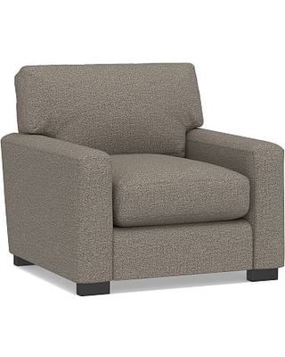 """Turner Square Arm Upholstered Small Armchair 36"""", Down Blend Wrapped Cushions, Performance Chateau Basketweave Light Gray"""