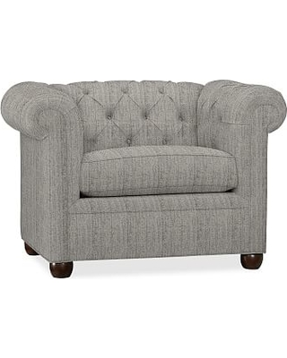 """Chesterfield Upholstered Small Armchair 44"""", Polyester Wrapped Cushions, Sunbrella(R) Performance Sahara Weave Charcoal"""