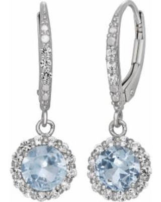 Lab-Created Aquamarine and Lab-Created White Sapphire Sterling Silver Halo Drop Earrings, Women's, Blue