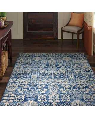 """World Menagerie Allenvale Navy Area Rug WDMG3150 Rug Size: Rectangle 2'6"""" x 4'"""
