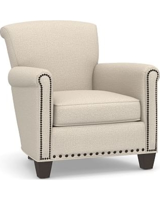 Irving Roll Arm Upholstered Armchair with Bronze Nailheads, Polyester Wrapped Cushions, Performance Chateau Basketweave Oatmeal