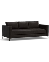 """Jake Leather Sofa 85"""", Polyester Wrapped Cushions, Leather Vintage Midnight"""