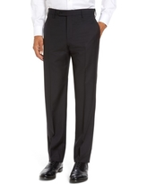 Men's Zanella Parker Flat Front Sharkskin Wool Trousers, Size 34 - Black
