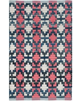 Bungalow Rose Saleem Coral Cotton Denim Blue/Royal Blue /Coral/White Area Rug BNGL8395 Rug Size: Rectangle 5' x 8'