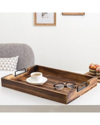 """Gracie Oaks Harrsion Serving Tray, Glass in Brown, Size Extra Large (Over 17"""" W) 