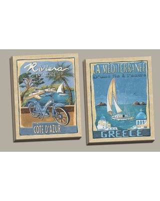 Rosecliff Heights 'Classic Retro Riviera and Greece Travel Posters' Graphic Art Print Set on Canvas ROHE8610