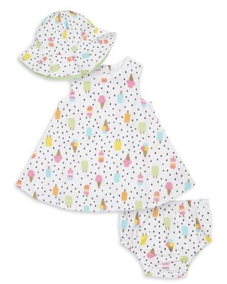 Gerber Baby Girl Dress, Diaper Cover, and Hat Set, 3pc