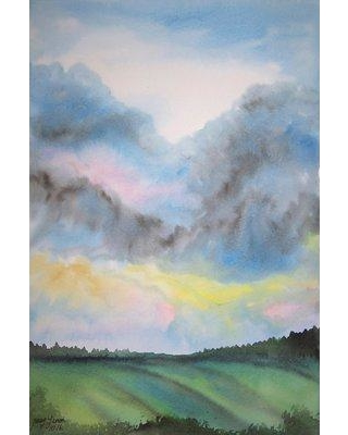 """Latitude Run 'Tempestuous Sky' Watercolor Painting Print on Wrapped Canvas LDER1134 Size: 60"""" H x 40"""" W"""
