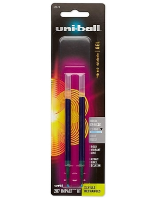 uni-ball 207 Impact RT Gel-Ink Pen Refill, Bold Tip, Blue Ink, 2/Pack (65874PP) | Quill
