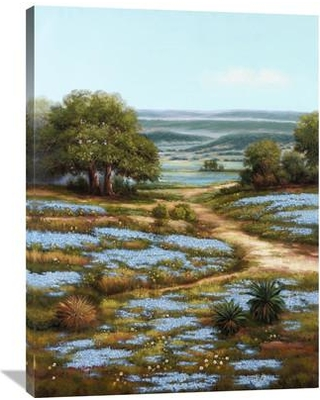 """Global Gallery 'Valley of the Bluebells I' by Arcobaleno Painting Print on Wrapped Canvas GCS-339644 Size: 40"""" H x 30"""" W x 1.5"""" D"""