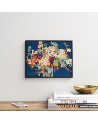 """Bright Flower Vase by Third and Wall - Floater Frame Graphic Art Print Winston Porter Format: Black Framed, Size: 11"""" H x 14"""" W x 1.5"""" D"""