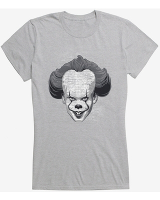 IT Chapter Two Pennywise Come Home Script Grayscale Girls T-Shirt