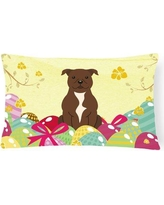 The Holiday Aisle Easter Eggs Staffordshire Bull Terrier Lumbar Pillow THLA4445 Pillow Cover Color: Chocolate