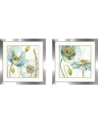"Ophelia & Co. 'My Greenhouse Flowers IV' 2 Piece Framed Watercolor Painting Print Set OPCO5752 Size: 17.5"" H x 35"" W Matte Color: White"