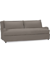 "Carlisle Slipcovered Sofa 80"" with Bench Cushion, Polyester Wrapped Cushions, Performance Twill Metal Gray"