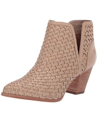FRYE Women's Reed Cut Out Woven Bootie Ankle Boot, Cream, 5.5 M US
