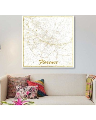 On sale now 44 off east urban home florence gold leaf urban east urban home florence gold leaf urban blueprint map graphic art print on canvas malvernweather Gallery