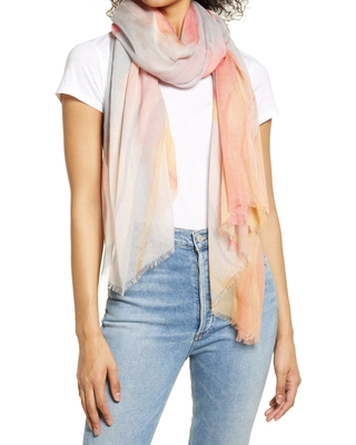Women's Nordstrom Print Modal & Silk Scarf, Size One Size - Pink
