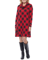 R & K Originals Long Sleeve Plaid Shift Dress with Removable Scarf, Small , Red