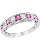4/5 CT. T.W. Created Pink Sapphire and Created White Sapphire Ring - Silver, Size: 6.0