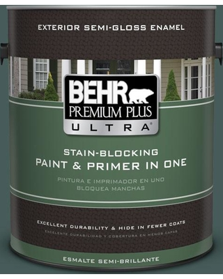BEHR ULTRA 1 gal. #490F-7 Jungle Green Semi-Gloss Enamel Exterior Paint and Primer in One