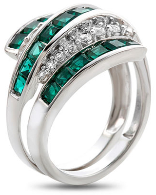 Lab-Created Emerald & Lab-Created White Sapphire Sterling Silver Cocktail Ring, 8