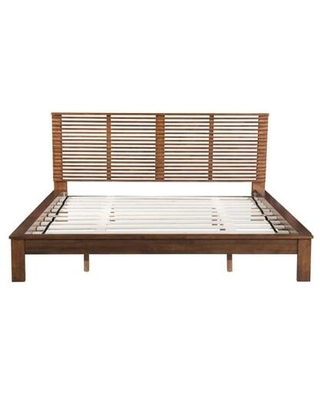 100574 Linea Collection King Size Bed with Wood Veneer Slat Included Linear Open-Air Headboard and Wooden Legs in