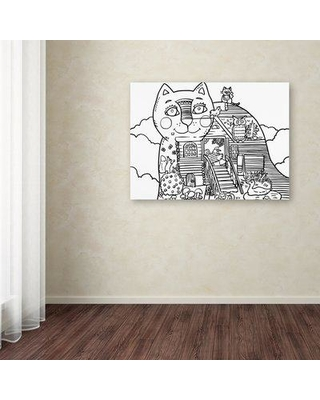 """Ebern Designs 'Russian Tale Cat II' Graphic Art Print on Wrapped Canvas EBND8204 Size: 18"""" H x 24"""" W"""