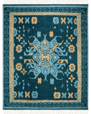 8'X10' Medallion Knotted Area Rug Blue/Gold - Safavieh