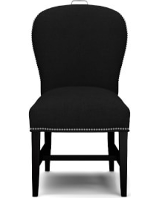 Maxwell Dining Side Chair with Handle, Belgian Linen, Black, Polished Nickel