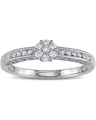 Miadora Sterling Silver 1/5ct TDW Diamond Floral Cluster Engagement Ring - White (Size 9)