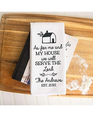 Custom We Will Serve the Lord Waffle Weave Dish Towel   Personalized Kitchen Towel   Housewarming Gift   Wedding Gift   Religious Dish Towel   Personalized Dish Towel   Hostess Gift