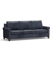"""Cameron Roll Arm Leather Grand Sofa 100"""", Polyester Wrapped Cushions, Statesville Indigo Blue"""
