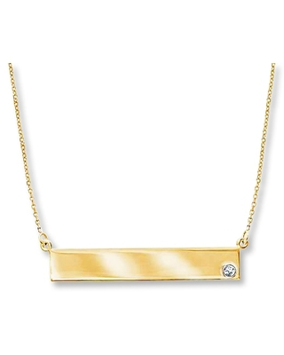 Jared The Galleria Of Jewelry Bar Necklace Diamond Accent 14K Yellow Gold
