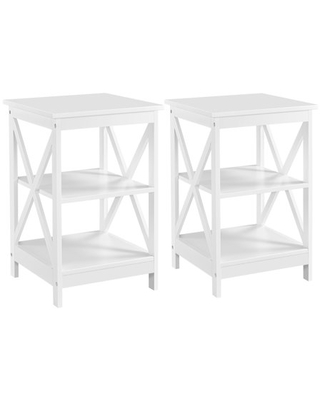Easyfashion 2pcs Side Table End Table Cabinet Night Stand with Storage, White