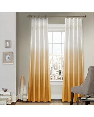 """52""""x95"""" Arashi Ombre Embroidery Light Filtering Curtain Panels Gold - Vue"""