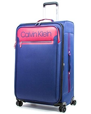 Calvin Klein Flare Softside Spinner Luggage, Navy/Red, 29 Inch