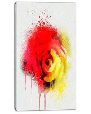 """Design Art 'Beautiful Red Yellow Rose Watercolor' Painting Print on Wrapped Canvas PT13797- Size: 32"""" H x 16"""" W x 1"""" D"""