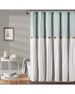 Savings On Cotton Button Shower Curtain Blue And White 72 X 72