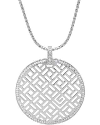 Guy Laroche Circle Pendant Necklace with Cubic Zirconia in Sterling Silver
