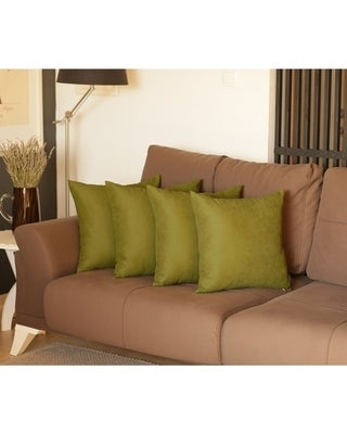 Decorative Square Solid Color Throw Pillow Cover Set (4 pcs in set) (Lime - 18 x 18)