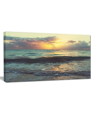 "Design Art 'Colorful Bluish Waters at Sunset' Photographic Print on Wrapped Canvas, Canvas & Fabric in Brown/Yellow/Blue, Size 16"" H x 32"" W Wayfair"