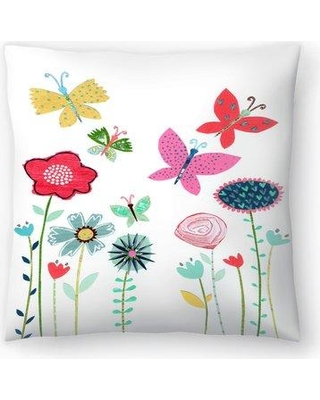 "East Urban Home Liz and Kate Pope Summer Flowers and Butterflies Throw Pillow EBIC1693 Size: 14"" x 14"""